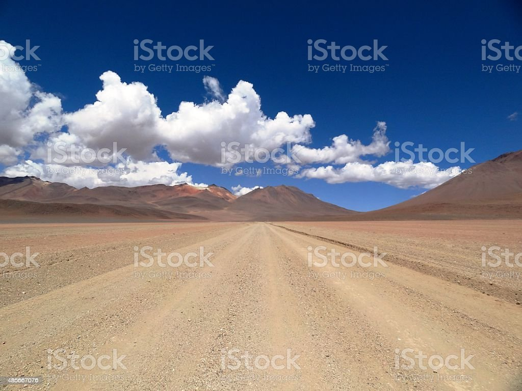 Road in the Andes, Bolivia stock photo