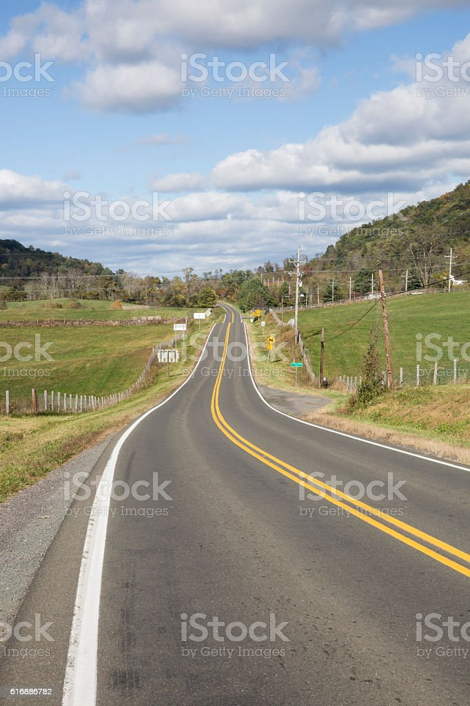 Road in the countryside in Virginia stock photo