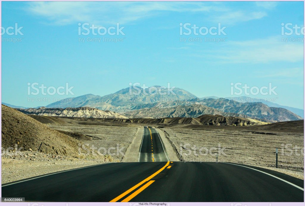 Road in the Desert in Death Valley stock photo