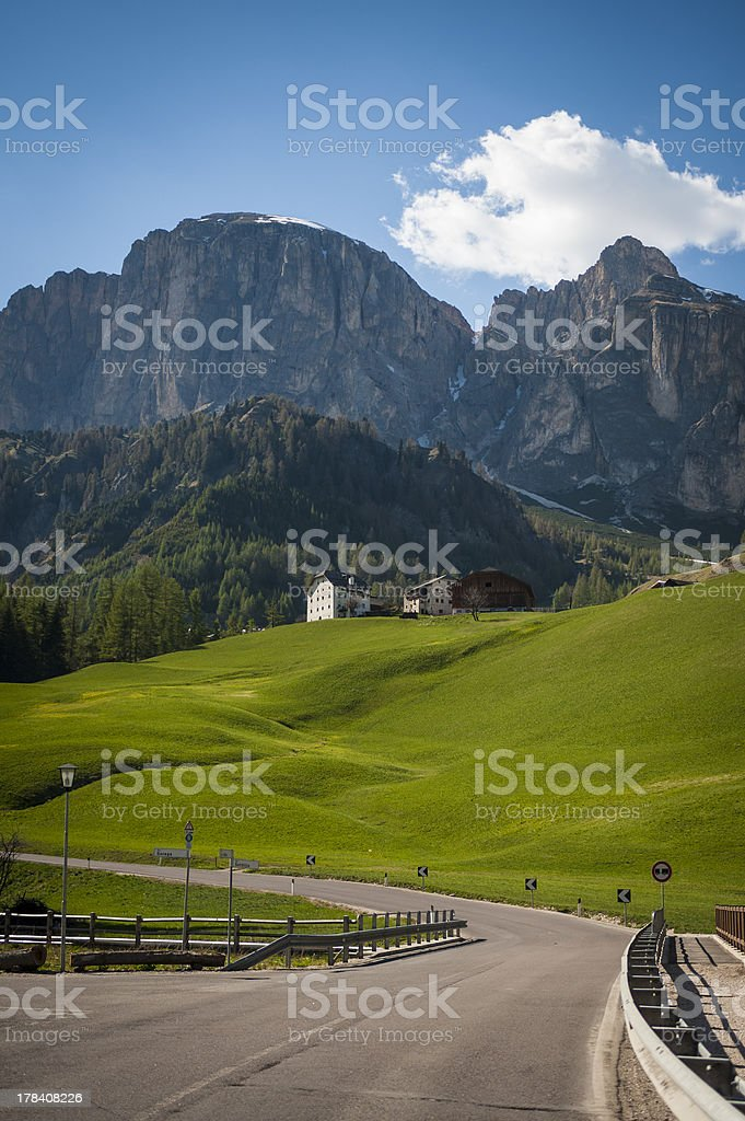 Road in the Dolomite mountains, Italy royalty-free stock photo