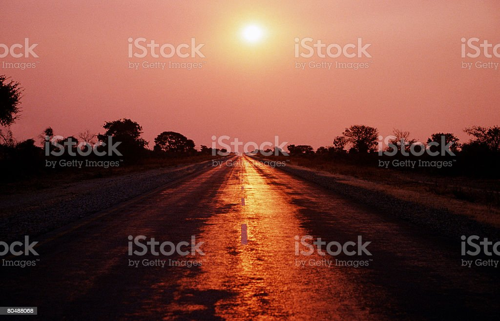 Road in the evening stock photo