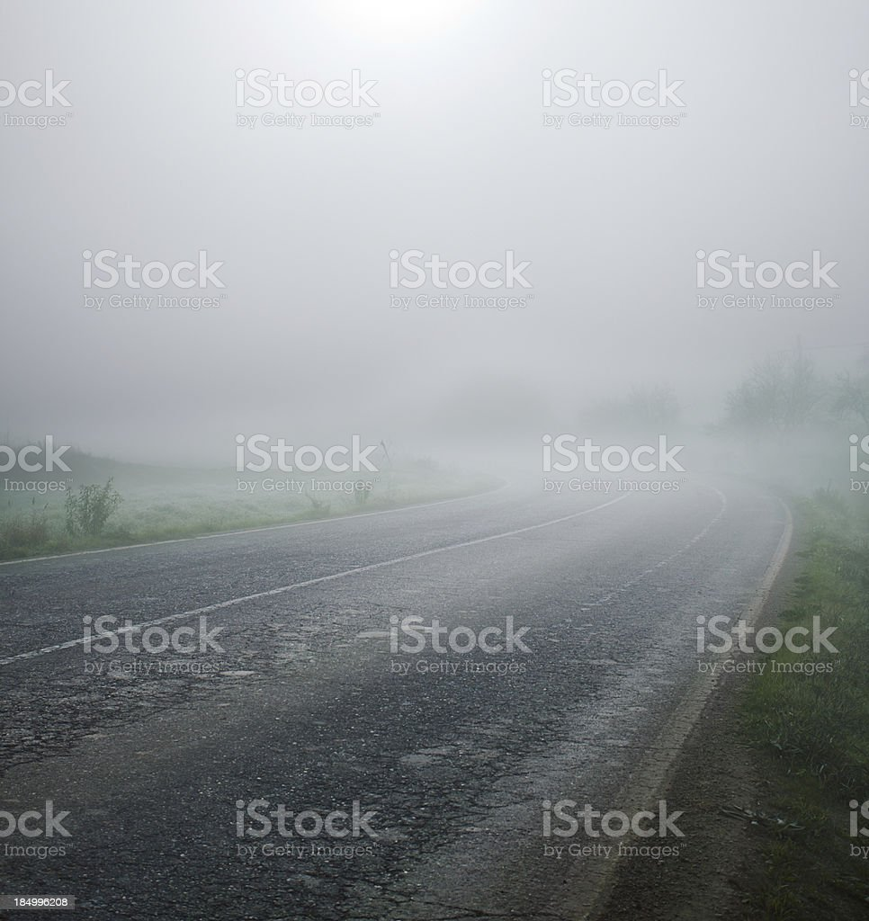 Road in the fog. royalty-free stock photo