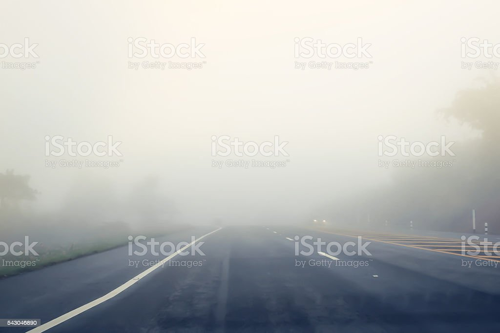 road in the fog. stock photo