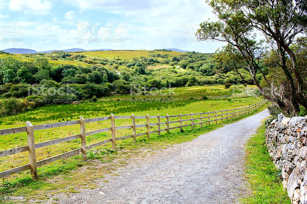 Road in the irish countryside stock photo