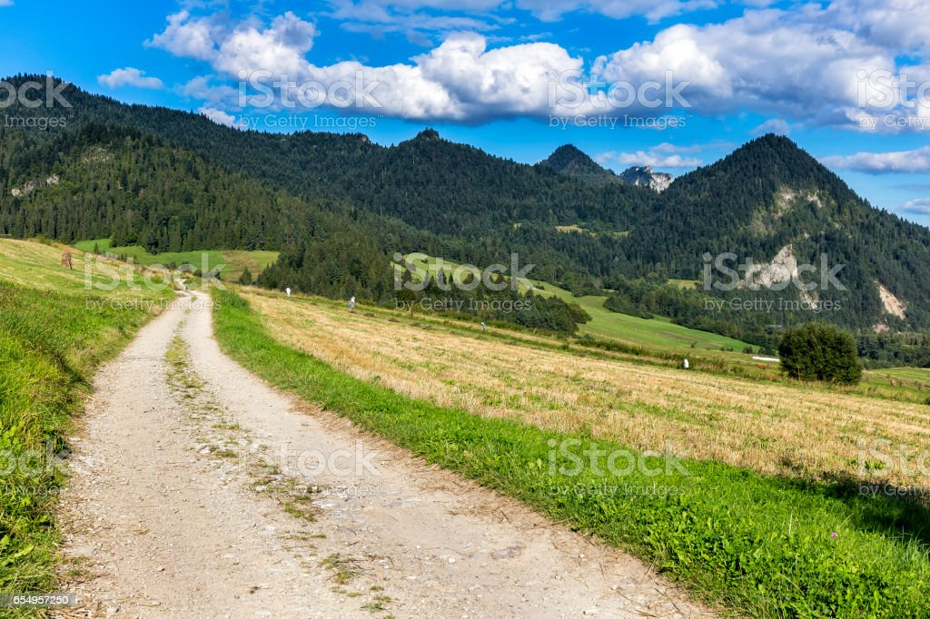 Road in the Pieniny Mountains, Poland stock photo