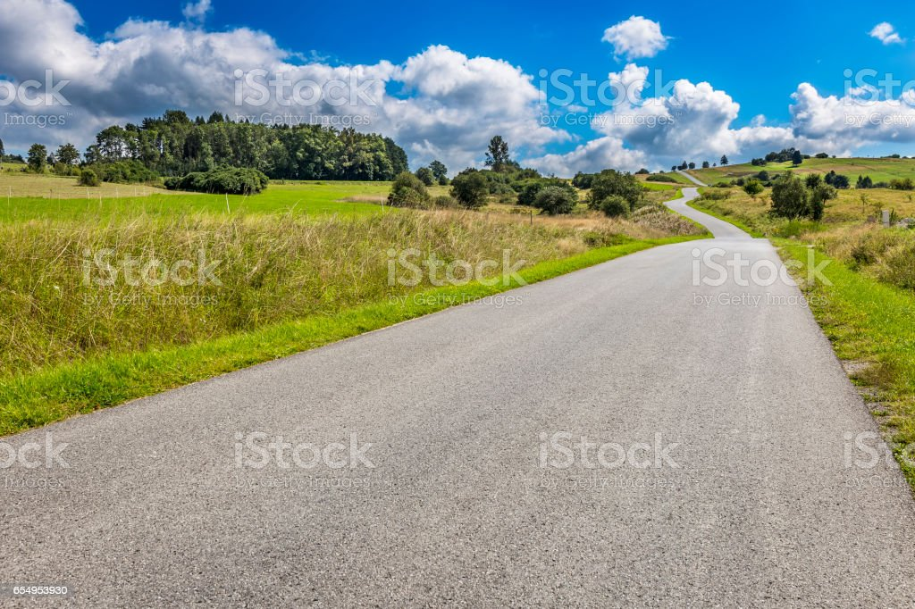 Road in the Podhale region, Poland stock photo