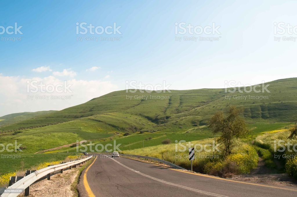 Road in the southern part of the Golan , Northern Israel stock photo