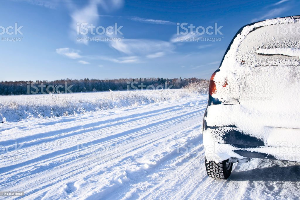 Road in the winter stock photo