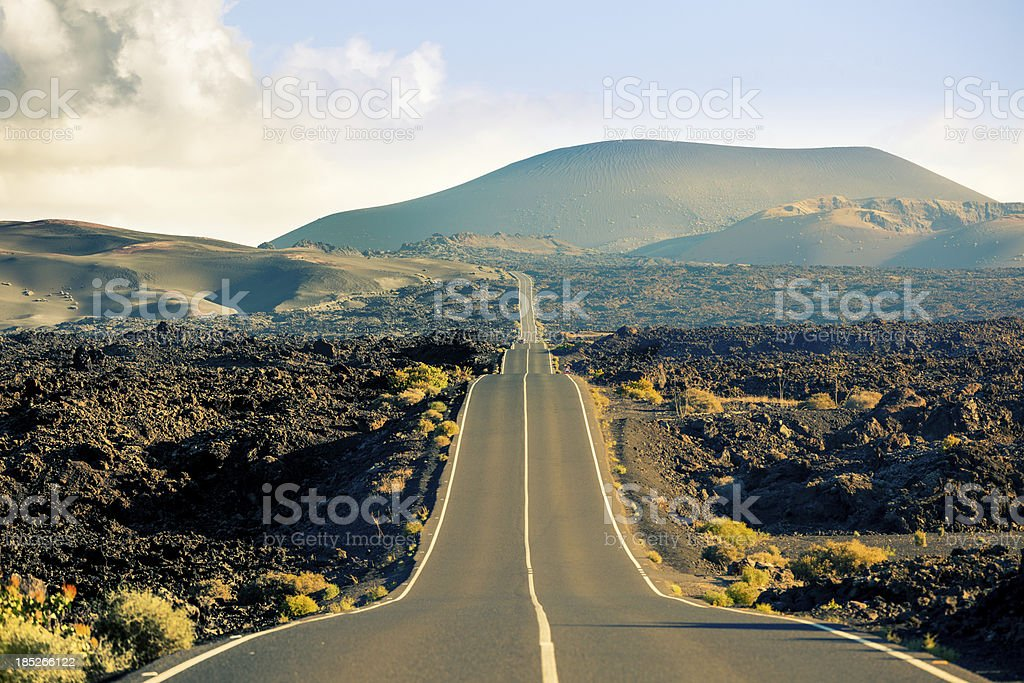 Road in Timanfaya National Park, Canary islands stock photo
