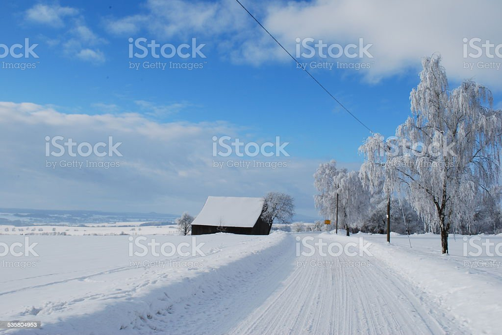 Stra?e im Winter stock photo