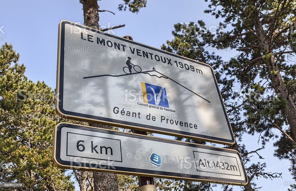 Road Indicator During on Mount Ventoux stock photo