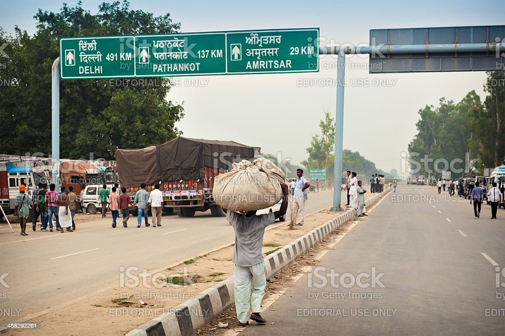 Road information sign in Attari royalty-free stock photo