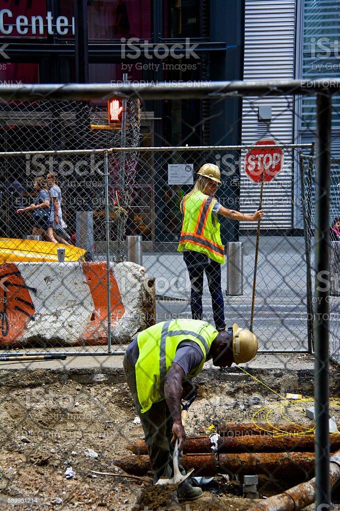 Road, Infrastructure repair workers in Lower Manhattan, New York City stock photo