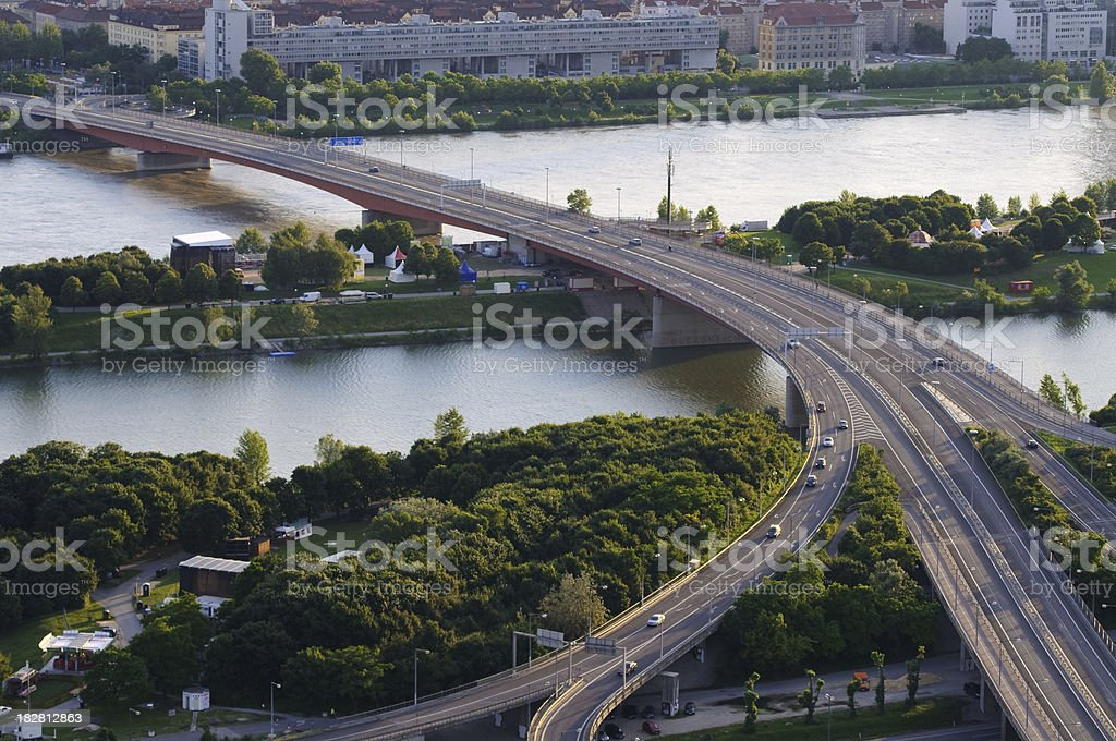 Road Intersection in evening light stock photo