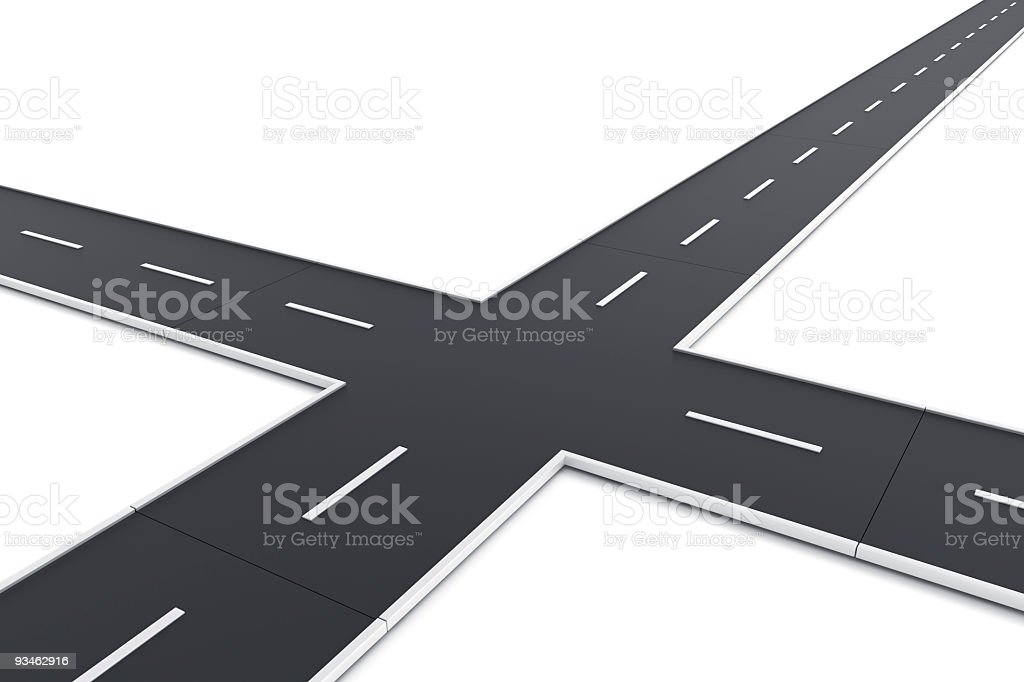Road intersection stock photo