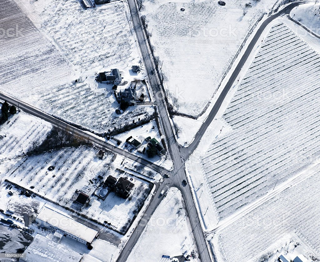 Road Intersections Winter Aerial View stock photo