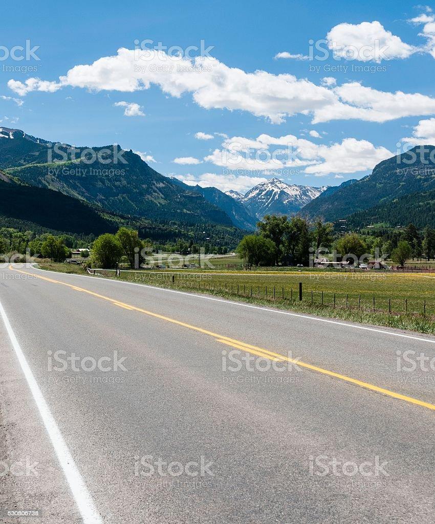 Road Into Ouray, Colorado stock photo