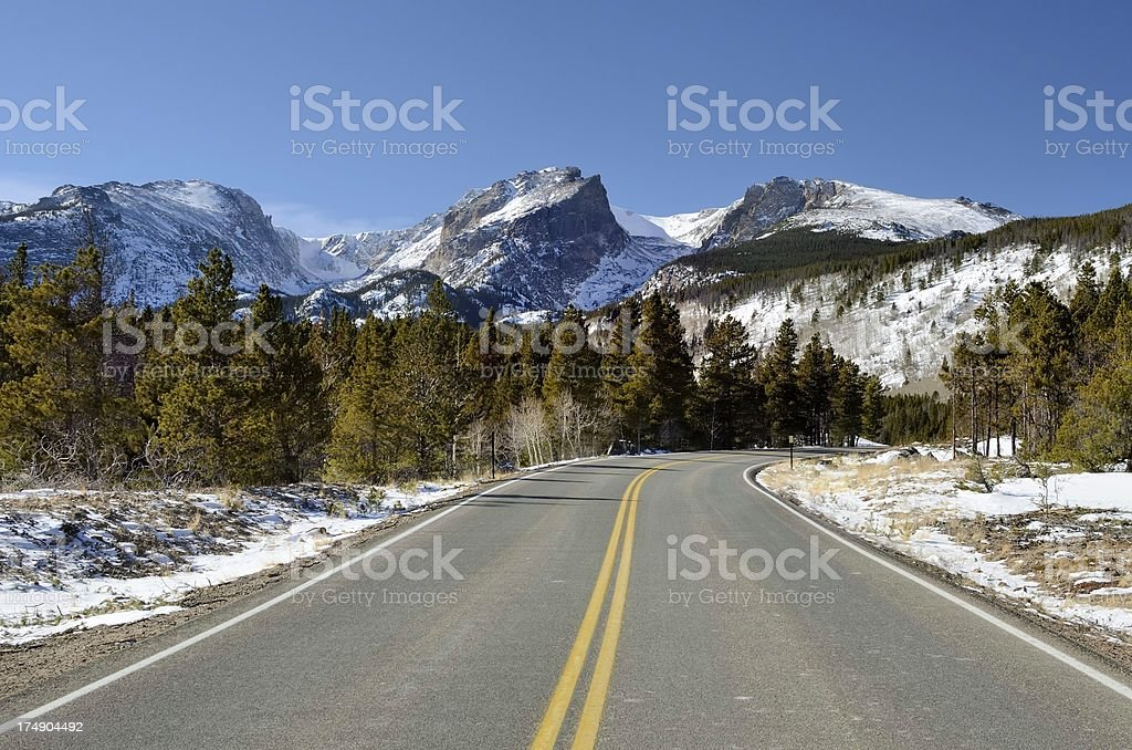 Road Into Rocky Mountain National Park in Winter royalty-free stock photo