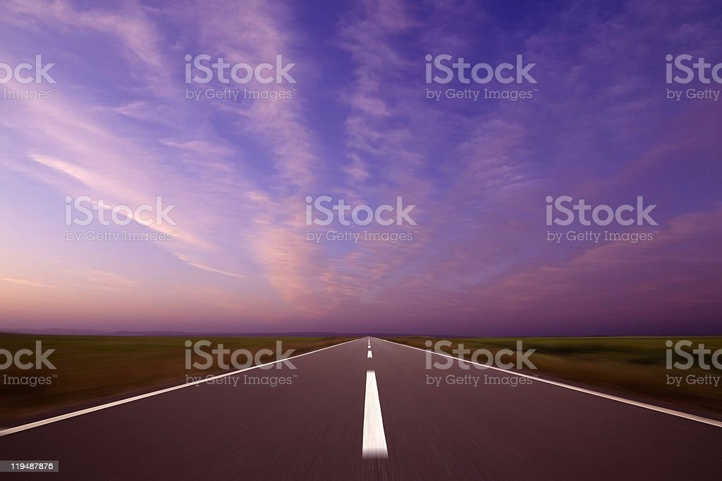 Road into sunset royalty-free stock photo