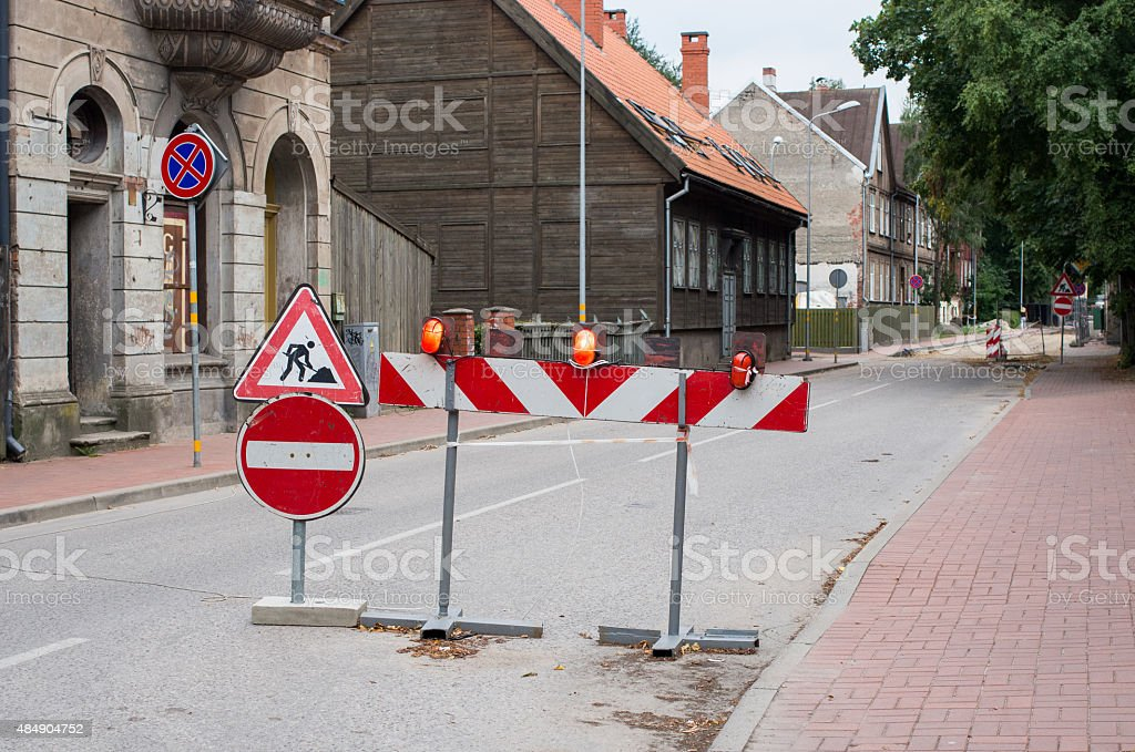 Road is closed stock photo