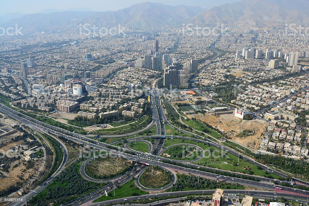 Road junction and buildings in north Tehran, Iran stock photo