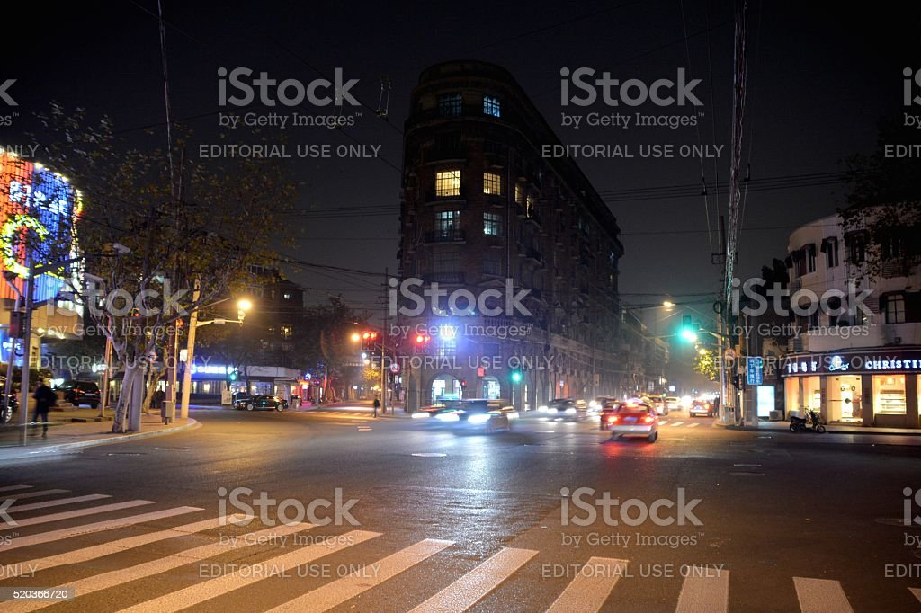 Road junction at Wukang Mansion, old French concession of Shanghai stock photo