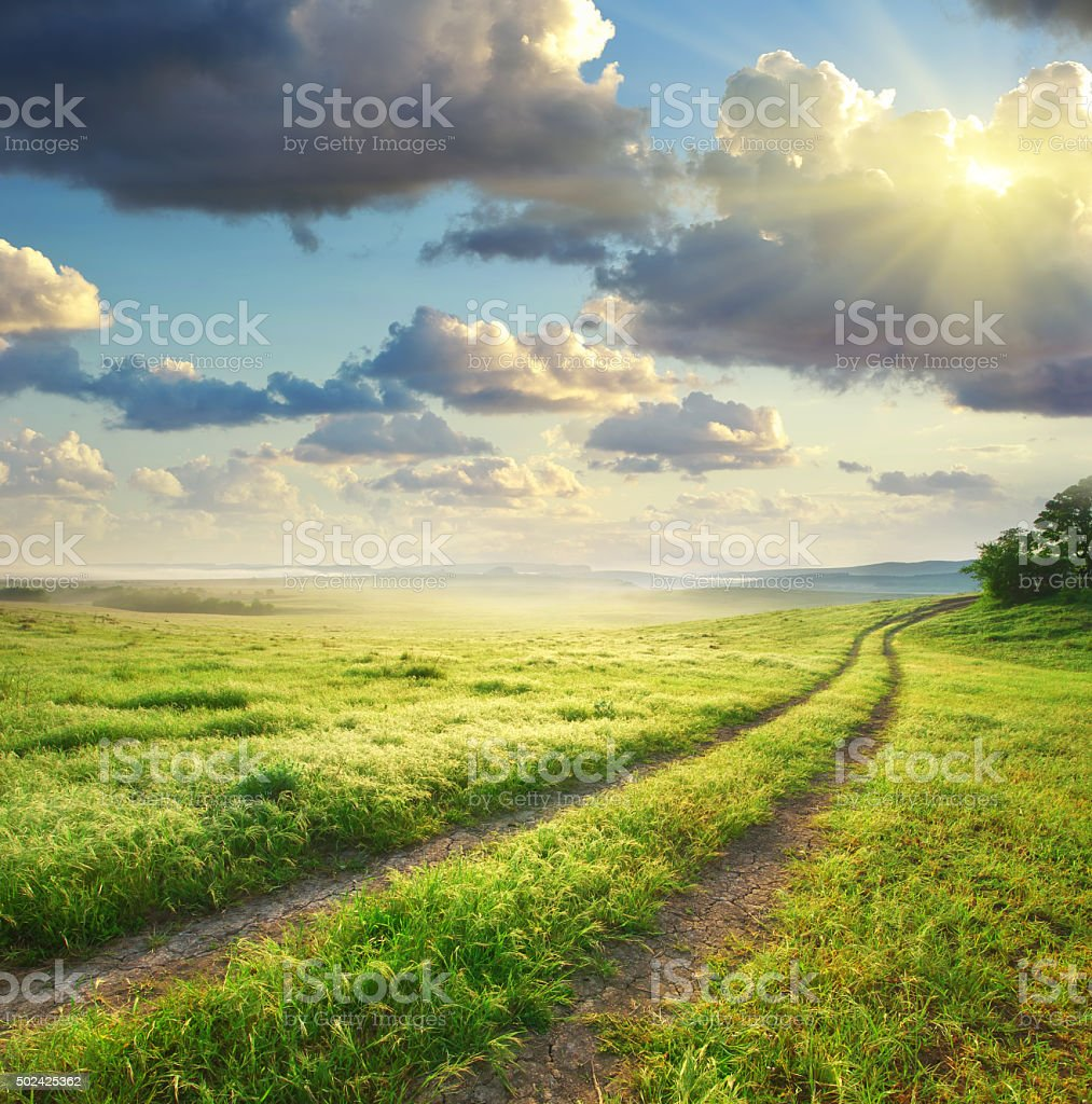 Road lane and deep morning sky. stock photo