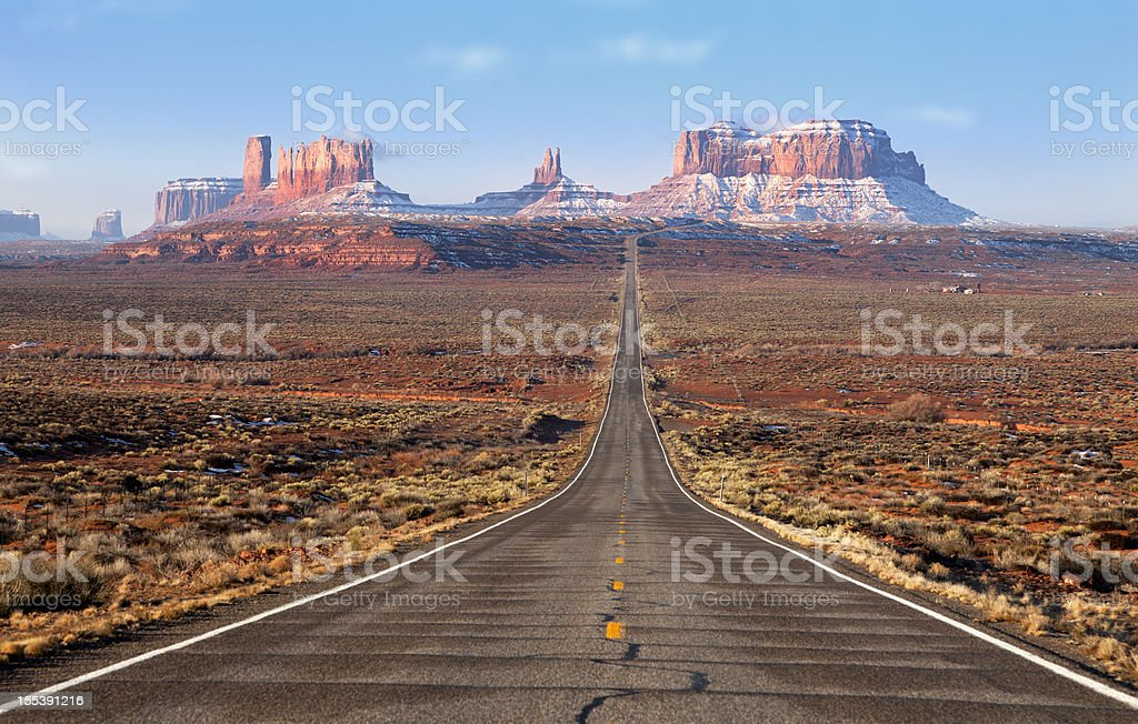 Road lead into Monument Valley stock photo
