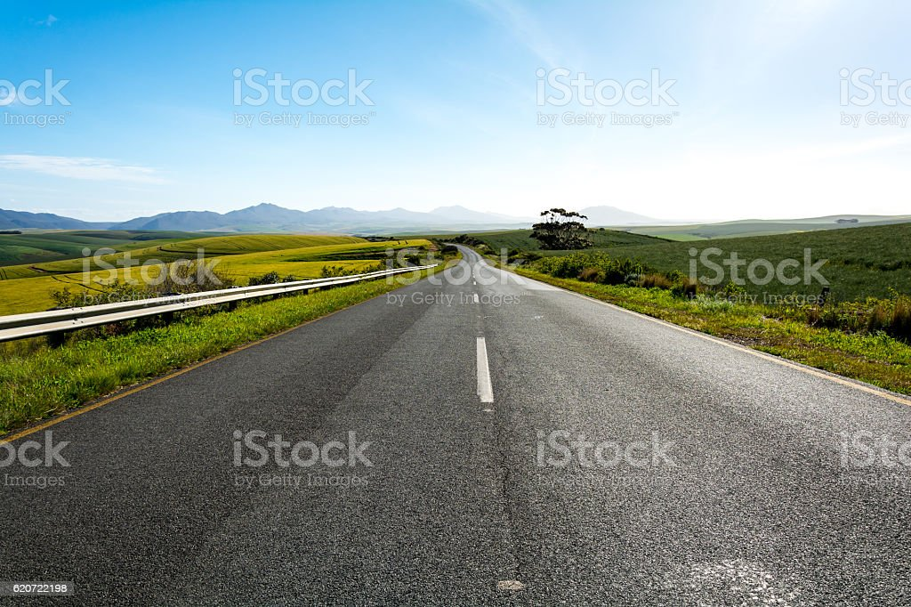 Road leading from Outshoorn to Hermanus in South Africa stock photo