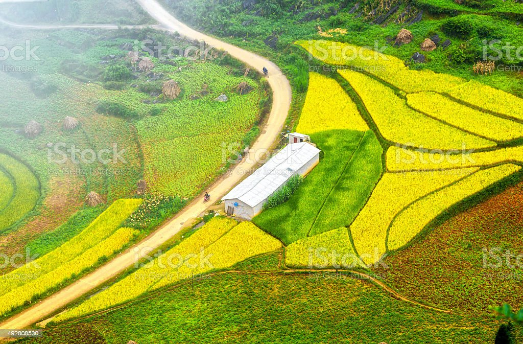 Road leading into village of Lung Cu, Ha Giang, Vietnam stock photo