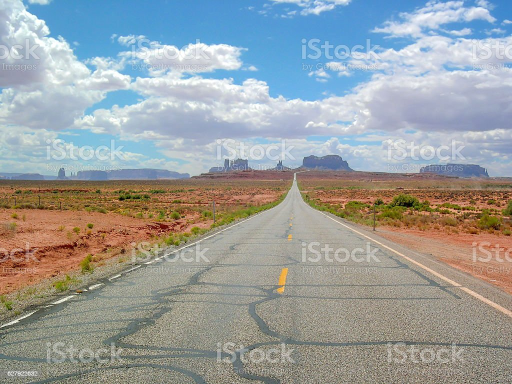 Road leading to Monument Valley, Arizona, Usa stock photo