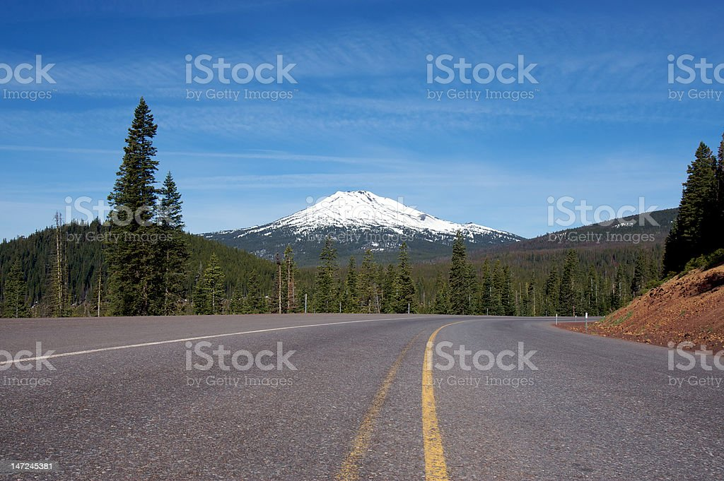 Road leading to Mt. Bachelor stock photo