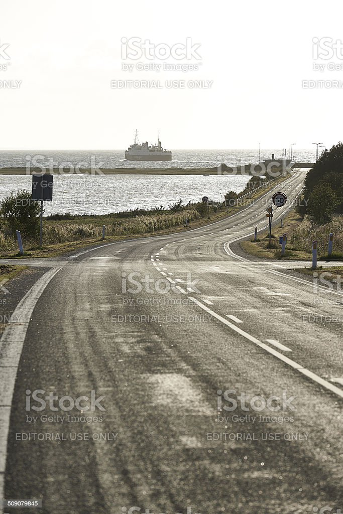 Road leading to the ferry stock photo