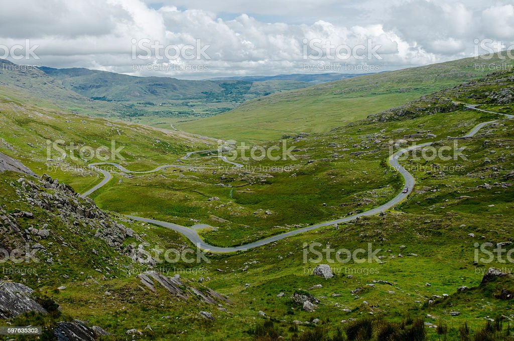 Road leading to the Healy Pass, Ireland, Europe stock photo