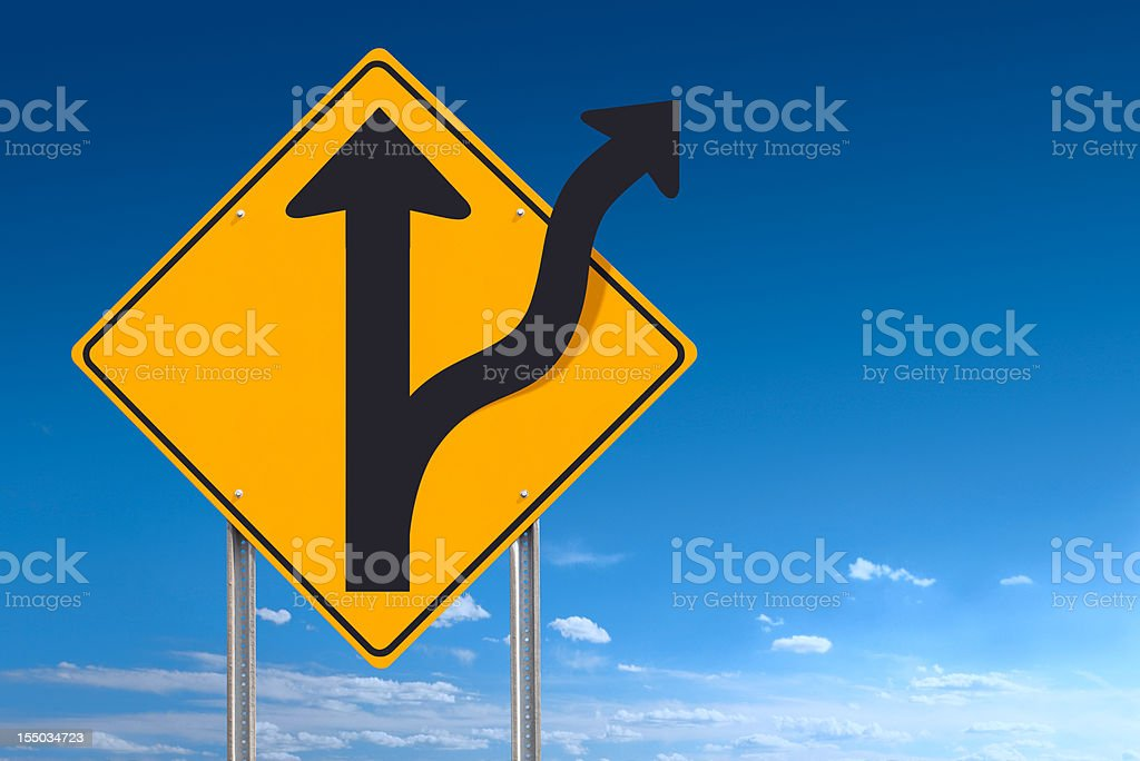 Road Less Traveled Directional Sign Post Over Blue Sky Background royalty-free stock photo