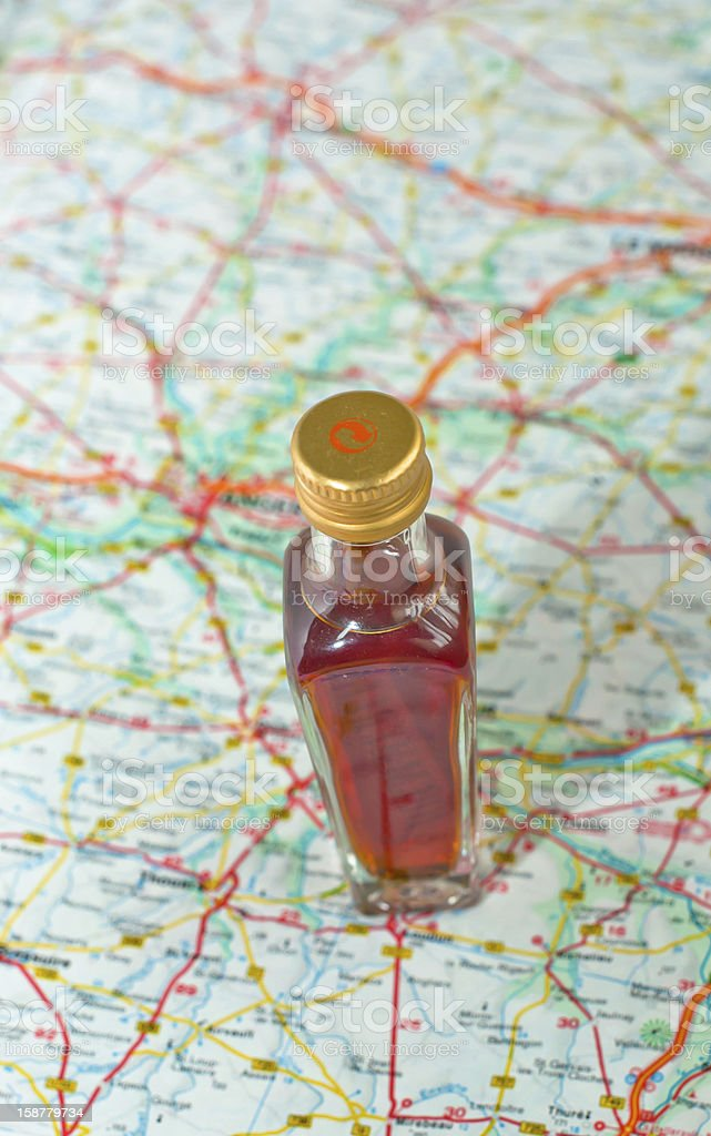 Road map and alcohol royalty-free stock photo