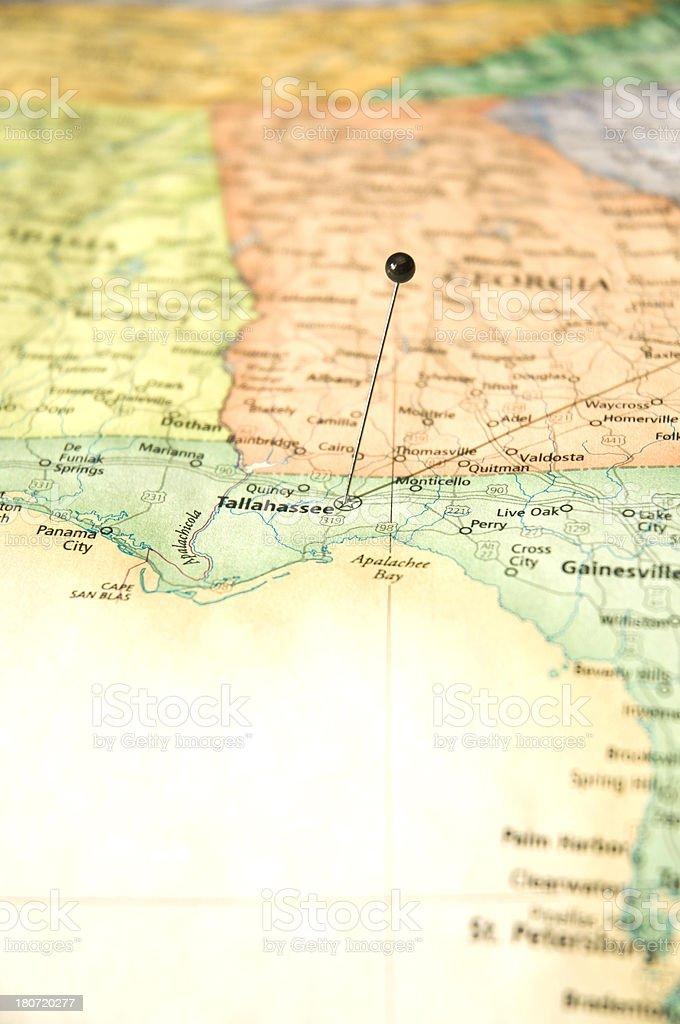 Road Map MacroOf Tallessee Florida Pan Handle stock photo