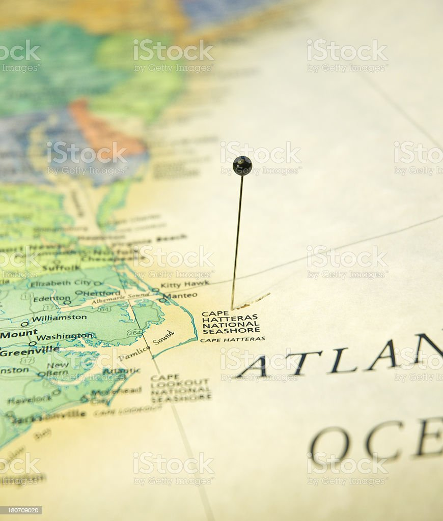 Road Map Of Cape Hatteras North Carolina And Atlantic Ocean stock photo