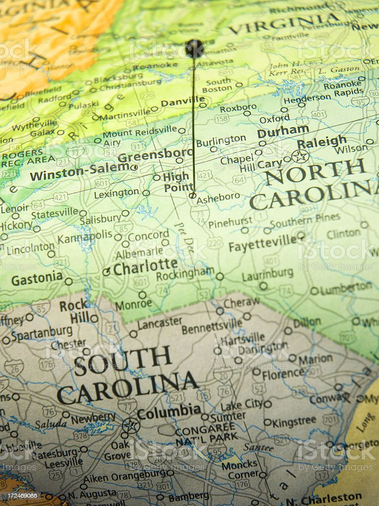 Road Map Of High Point North Carolina And State Borders stock photo
