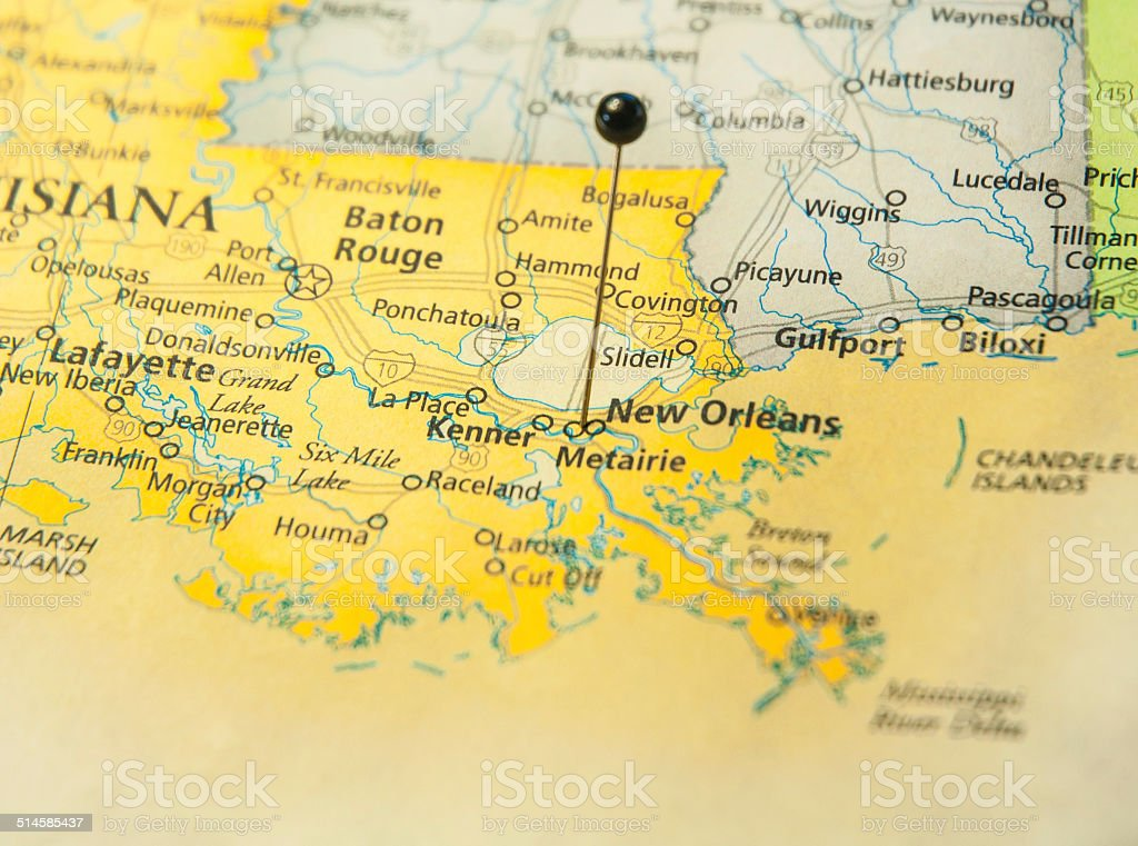 Road Map Of New Orleans And Gulf Coast stock photo