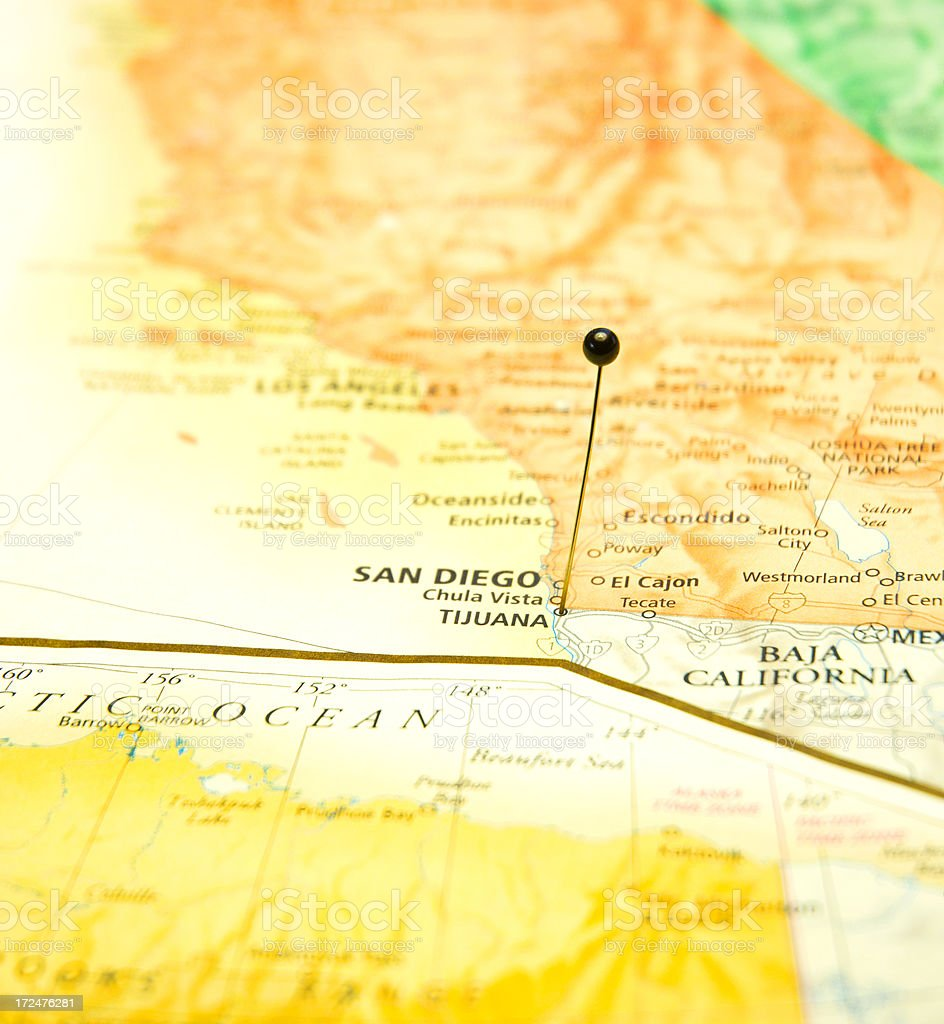 Road Map Of San Diego California And Tijuana Mexico stock photo