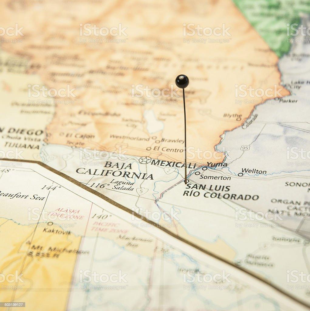Road Map San Luis Rio Colorado California Mexico Border stock photo