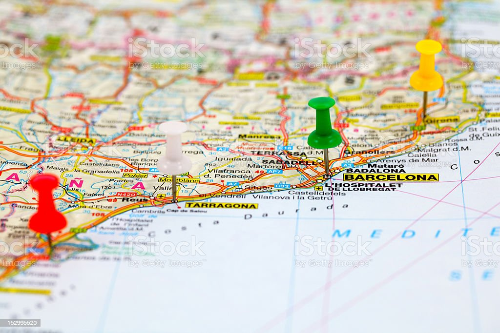 Road map with colored push pins of Barcelona, Spain stock photo