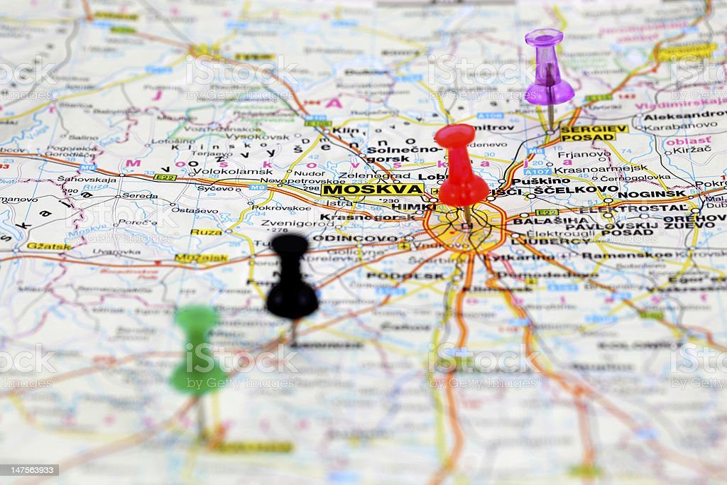 Road map with push pins of Moscow, Russia stock photo