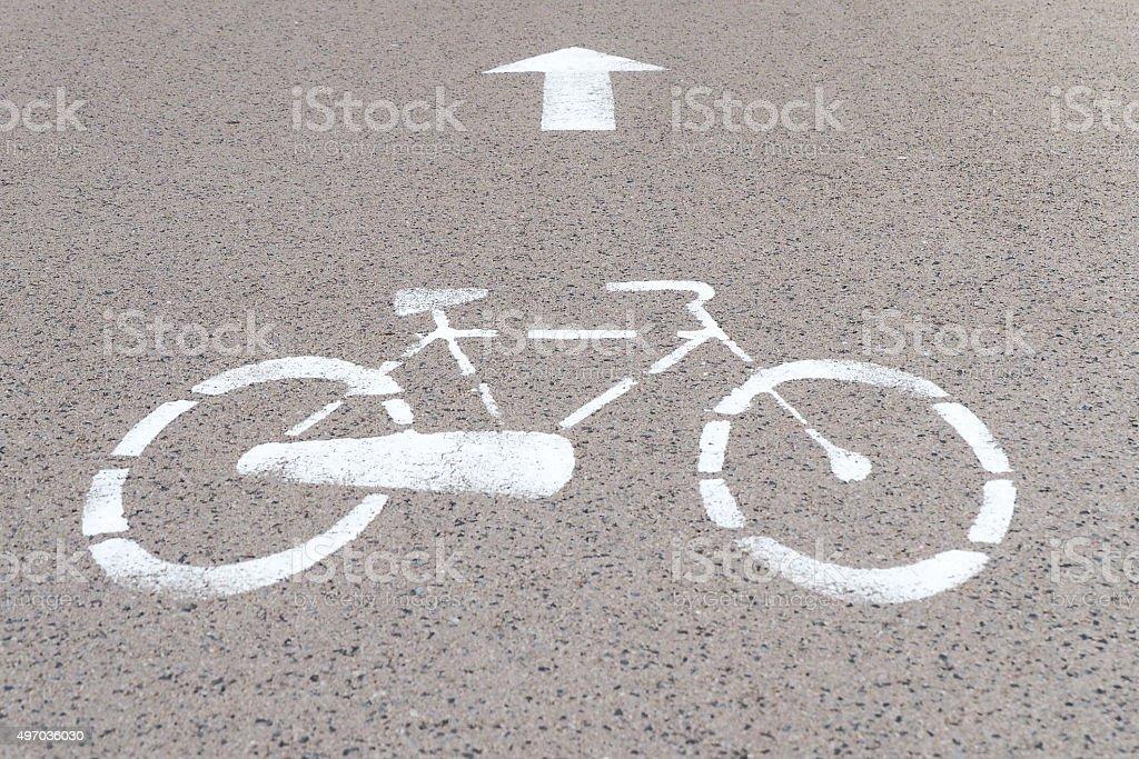 Road mark for bikes lane stock photo