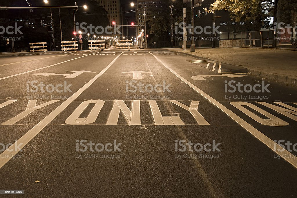 USA Road marking, arrow signs stock photo