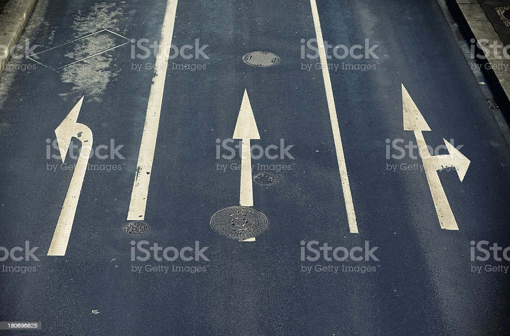 Road marking, arrow signs royalty-free stock photo