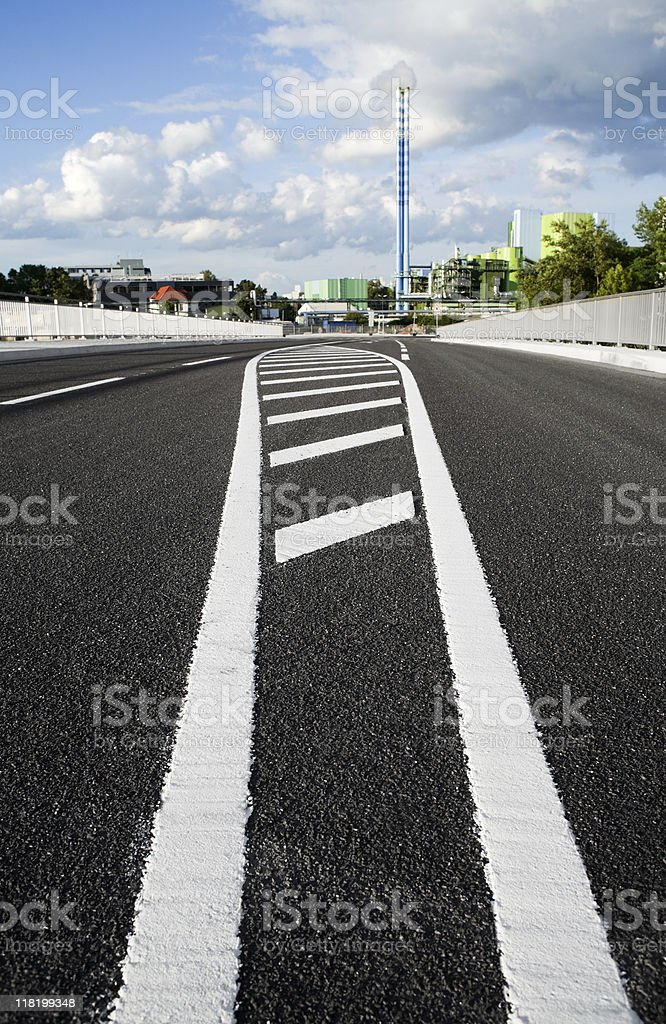 Road marking on the street, industrial area Mainz royalty-free stock photo