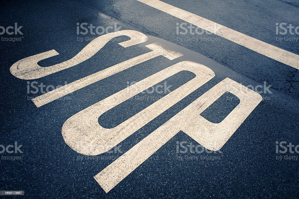 Road marking, STOP royalty-free stock photo