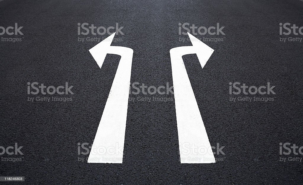Road marking, two arrow signs royalty-free stock photo